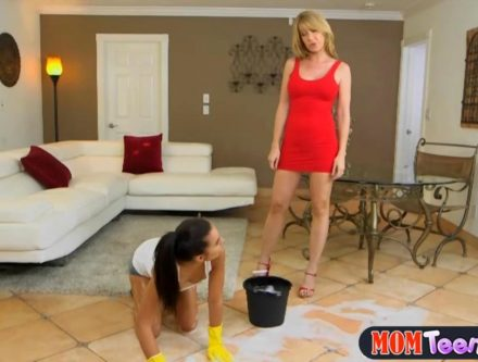 Stepmom-uses-petite-teen-as-a-mop-to-scrub-the-floor